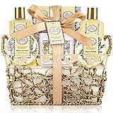 Bath & Shower Spa Gift Basket Set, with English Pear & Freesia Fragrance Bath Gift Basket for Women & Men Includes Body Lotion, Shower Gel, Bath Salts, Bubble Bath, Body Scrub and More, 9 Pcs
