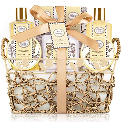 Bath & Shower Spa Gift Basket Set, with English Pear & Freesia Fragrance Bath Gift Basket for Women & Men Includes Body Lotion, Shower Gel, Bath Salts, Bubble Bath, Body Scrub and More, 9 Pcs