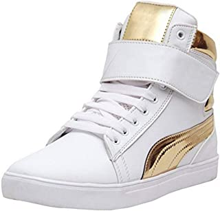 Shoe Island ® Popular Icon-X ™ Designer Leatherette High Ankle Length Velcro White Shinning Gold Casual Dance Sneakers for Men
