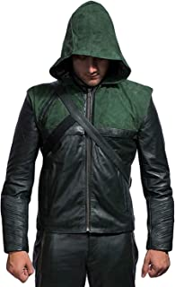 LovezLeather - The Arrow Oliver Queen Green Lantern Superhero Amell Costume Hooded Leather Jacket