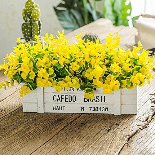Flinfeays Kunstbloemen, kunstbloemen, omheining van hout, creatief knutselen, vakantiegeschenken, bruiloft, party, keuken, huisdecoratie, bloempot, zeer realistisch, geel-30
