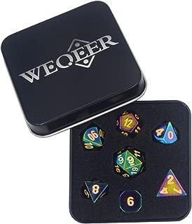WEQEER RPG Metal Dice Set - 7 Rainbow Color Dice with Black Tin