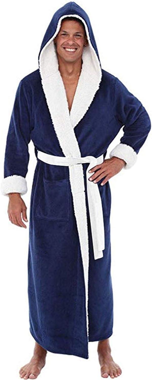 Mens Warm Robe with Hood Full-Length Plush Bathrobe,Winter Plush Pajamas Bathrobes Long Sleeve Kimono Bath Robes