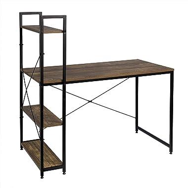 EUGAD 0070ZZ Table de Bureau Meuble Informatique de Travail avec étagères de Rangement en Bois et métal 120x64x120cm,Noir+Vin