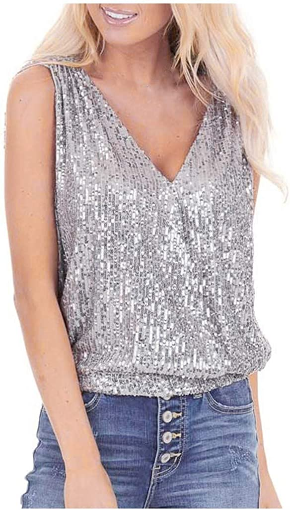 Mikey Store 2020 Fashion Women Ladies Casual Fashion Sequined V-Neck Backless Vest Sexy Tops