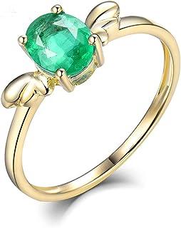 Daesar Anello Donna Oro 14K, Anello Amicizia Donna Ali con Smeraldo 0.6ct Anelli Oro Matrimonio