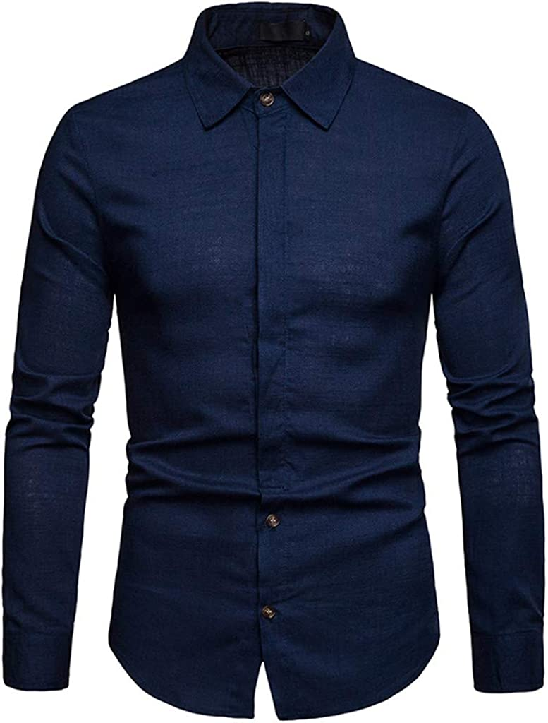 Men's Classic Fit Collar Solid Long Sleeve Casual Button Down Dress Shirt