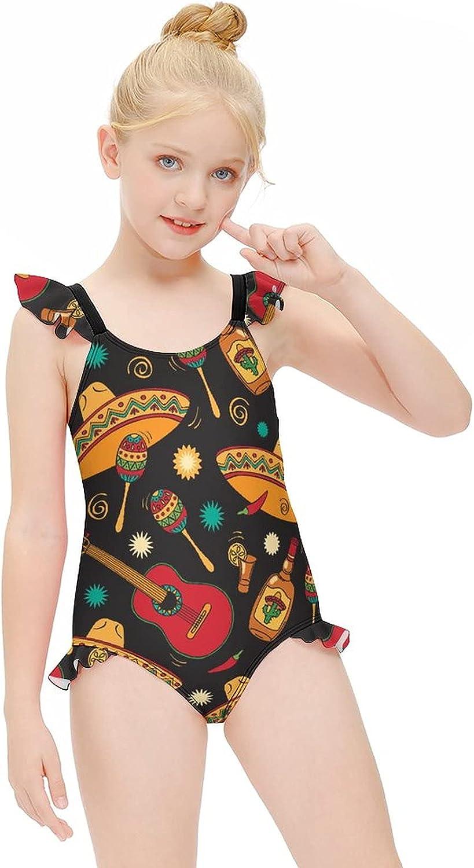 WEEDKEYCAT Happy Fiesta Cute Girls' Swimsuit Halter One Piece Swimwear Printed Beach