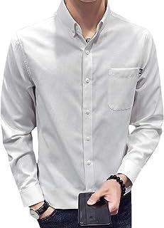 Hajotrawa Men Long Sleeve Striped Turn Down Printed Tops Button Front Shirts