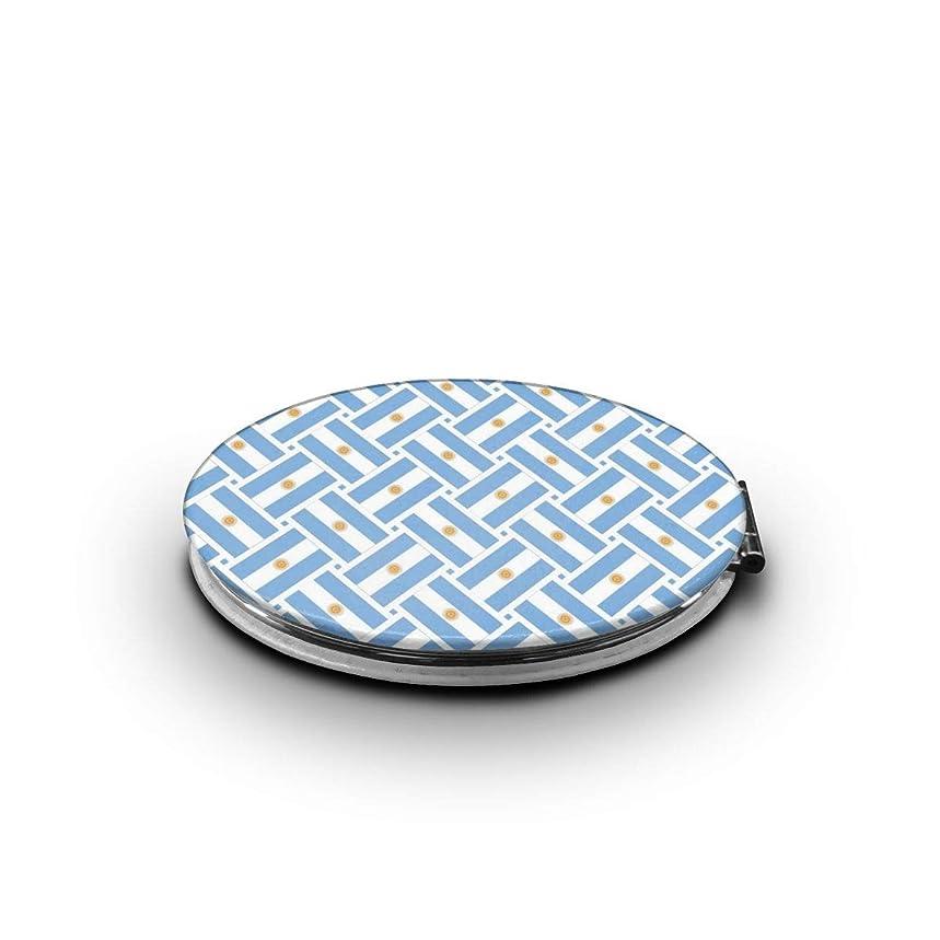 廊下ソーダ水気楽なミラー 化粧鏡 アルゼンチンflag Weave コンパクトミラー 軽量 丸型 折りたたみ鏡