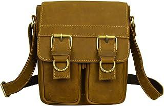 Genda 2Archer Men's Flapover Leather Shoulder Bag Vintage Crossbody Handbag One Size Brown Yellow