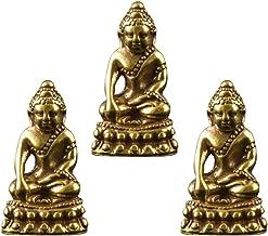 3pcs Buddha Figurines Home Decor Meditation Sitting Brass Buddha Ornaments Mini Buddha Statue Fengshui Chinese Thai Vintag...