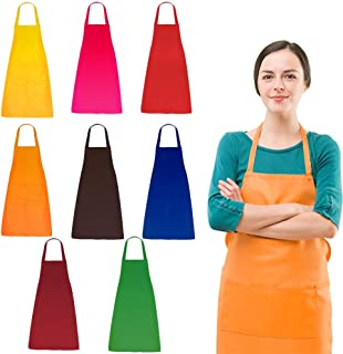 DUSKCOVE 8 PCS Plain Bib Aprons Bulk - Mixed Color Commercial Apron with 2 Pockets for Kitchen Cooking Restaurant BBQ Painting Crafting