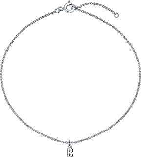 Personalizzato semplice dainty nome penzoloni alfabeto blocco lettera caviglia braccialetto A-Z cavigliera iniziale .925 S...