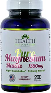Pure Magnesium Malate 1350 mg - 200 Capsules. Physician Formulated Highly Absorbable, Calming Mineral.