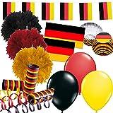 328-teiliges Dekoset * Deutschland * für eine Länder-Party // mit Fahnenkette + Fahnen + Pom-Poms + Muffin-Förmchen + Picker + Luftballons + Luftschlangen // Dekoration Mottoparty EM Fußball