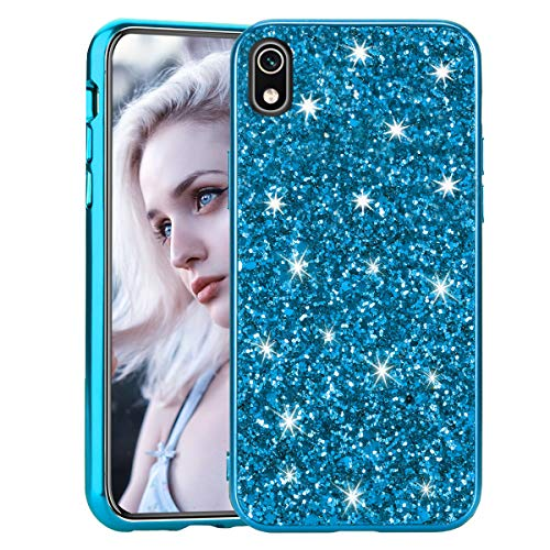 Glitzer Hülle für Huawei Y5 2019 Blau, Misstars Bling Sterne Pailletten Hart PC + Weiche TPU Rahmen Handyhülle Anti-Rutsch Kratzfest Schutzhülle für Huawei Y5 2019 / Honor 8S