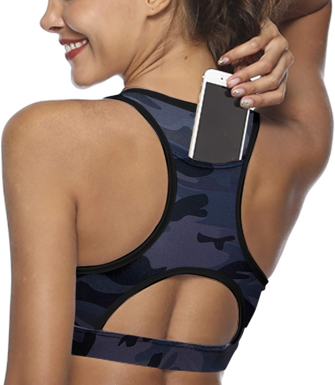 Women Sport Bra Back Pocket Running Yoga Bras Padded High Impact Workout Activewear Floral Print Fitness Tops