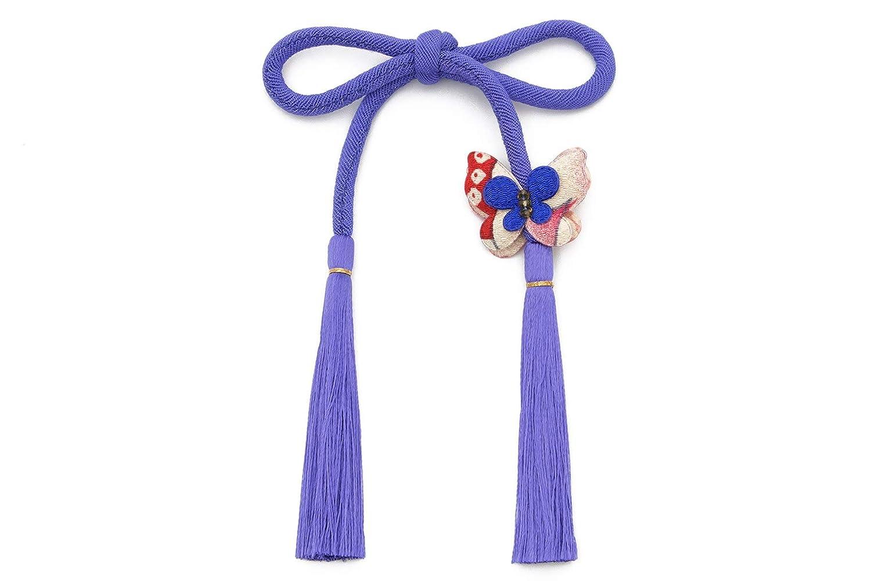 (ソウビエン) 髪飾り 青 丸ぐけ 無地 シンプル 蝶 組紐 縮緬 ちょい足し 飾り紐 七五三 成人式 ヘアアクセサリー