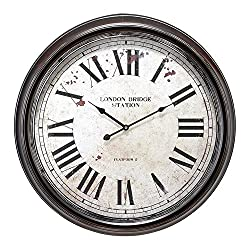 Large, Round Distressed Black and White Metal Wall Clock with Roman Numerals, 24 x 24