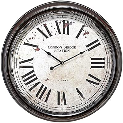 "Large, Round Distressed Black and White Metal Wall Clock with Roman Numerals, 24"" x 24"""