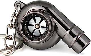 maycom Creative Spinning New Chrome Polished Gunmetal Black Turbo Turbocharger Keychain Key Chain Ring Keyring Keyfob,Make...