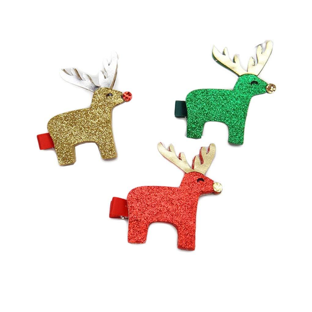 Christmas Reindeer Deer HairClip Pins Sika Deer Baby Girl Hair Clip Hairgrips JHC27 (3 Pcs-Gold Red Green)