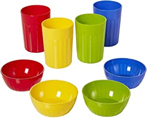 Plastic Bowls & Tumbler Combo Set by Arrow - BPA Free, Dishwasher Safe, Stackable - Bowls for Kids & Toddlers for Everyday Meal Time, (4) 10oz Reusable Cups & (4) 16oz Reusable Bowls (Primary Colors)