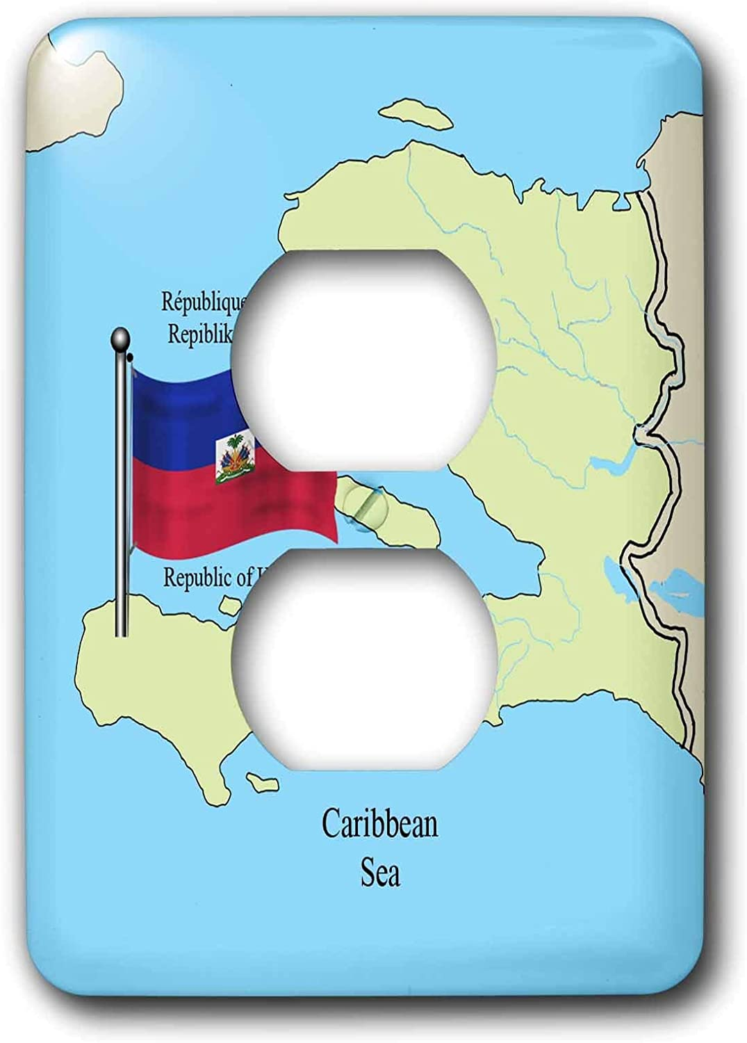 Duplex Receptacle Outlet Wallplate 1 Gang Outlet Covers The Flag And Map Of Haiti With The Republic Of Haiti Printed In English French And Haitian Creole Classic Beadboard Unbreakable Faceplate