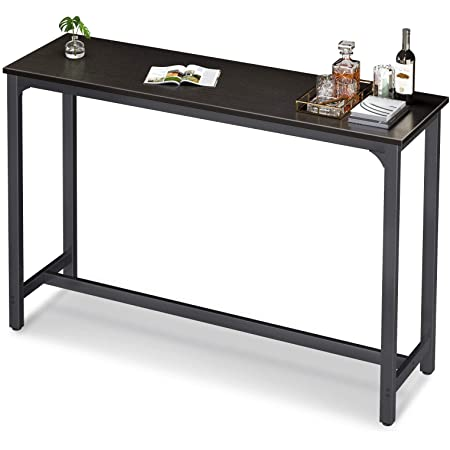 Teraves Bar Table with Solid Metal Frame,Counter Height Table Kitchen Bar Table for Dining Room,Living Room 39.37, Black Oak