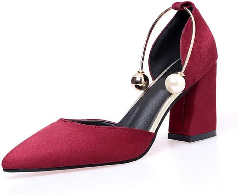 Meiguiyuan Women High Heel Sandals Fashion String Beads Sexy Pointed Toe Women' Pumps Sweet Wedding shoes