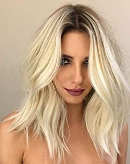 Sunny Invisible Crown Hair Toppers Ombre Human Hair Piece Color #1B Dark Roots #613 Light Blonde Two Tone Clip in Mono Bas...