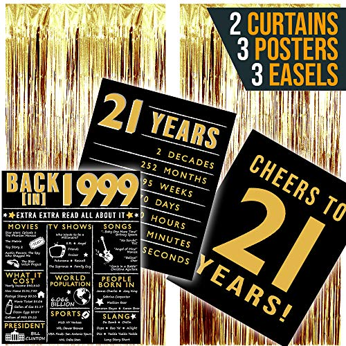 1999 Posters 21st Birthday Decorations for Her, 21st Birthday Gifts for Women, 21st Birthday Party Supplies, Includes 3 Blush Metallic Posters 8x10, Two Rose Gold Foil Fringe Curtains, 3 Easels