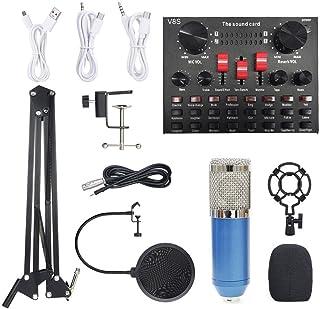 مجموعة ميكروفون بمعدات تسجيل الصوت بي ام 800 متعدد الوظائف (أزرق وفضي)