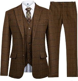 Hanayome スーツ メンズ スリーピース 上下セット セットアップ ビジネススーツ 礼服 卒業式 就職スーツ 二次会 チェック柄 2ポケット 無地 スリム 着心地良い 3点セット(ジャケット・ベスト・スラックス)