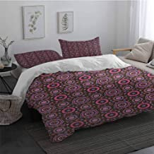 Sheet Set Microfiber Bedding Floral Hippie Style Flourishing Flowers with Abstract Colorful Circles Pattern 1 Duvet Cover 2 Pillowcases Chocolate Pink Purple King