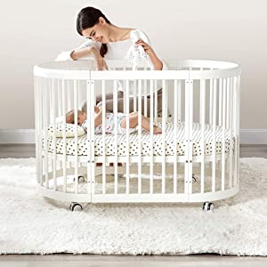 DUWEN-Cot bed Solid Wood Multifunction Baby Cot European Style Cot Bed Toddler Bed Splicing Bed Round Bed