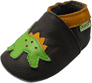 Sayoyo Baby Dinosaurs Soft Sole Leather Infant and Toddler Shoes (Dark Brown,6-12 Months)