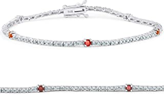 1 1/10 Ct Diamond & Genuine Ruby Tennis Bracelet 14k White Gold 7