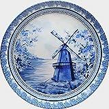 KOLOROBIA Ceramic Dutch Pottery Inspired Home Decor Wall Plate (Blue)