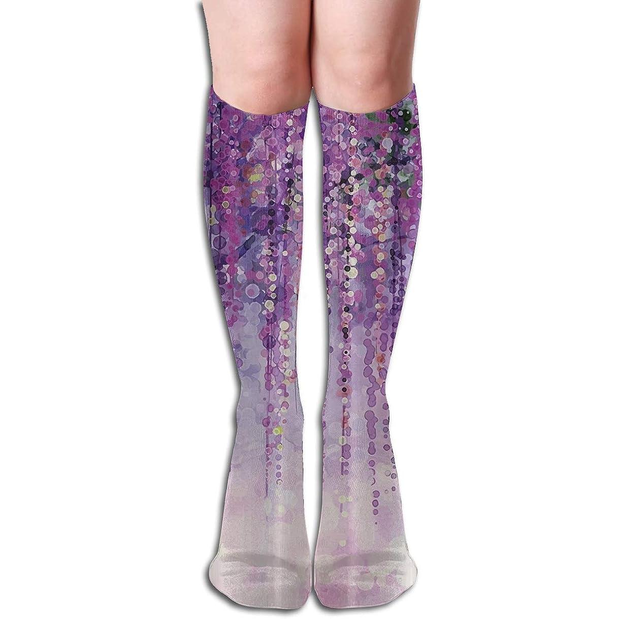どちらもコンクリート深くQRRIYランドスケープ紫色の花の3 D圧縮ソックス、男性の女性のためのギフト