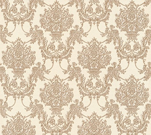 A.S. Création Vliestapete Chateau 5 Tapete mit Ornamenten barock 10,05 m x 0,53 m beige braun metallic Made in Germany 344925 34492-5