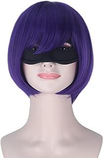 Girl Short Purple Color Bob Hair Halloween Cosplay Costume Wig with Black Mask
