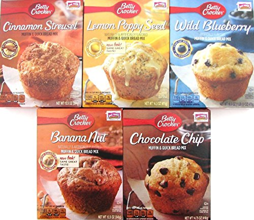 Betty Crocker Muffin and Quick Bread Mix Variety Pack of 5 Cinnamon Streusel, Wild Blueberry, Chocolate Chip, Banana Nut, Lemon Poppy Seed