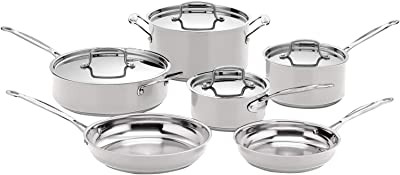 Cuisinart Stainless Steel Chef's Classic 10-Piece Cookware Set, Light Grey