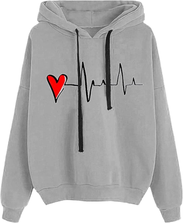 HIRIRI Pullover Hoodies for Lightweight Women Heartbeat online Be super welcome shopping Printing