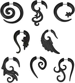 8 Pairs Black Acrylic Spiral Wing Faux Taper Wild Tribe Stud Earrings Set Barbell Fake Ear Plug Piercing