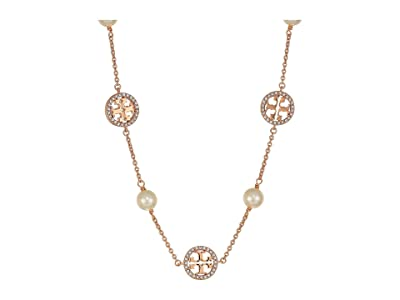 Tory Burch Crystal Pearl Logo Necklace (Rose Gold/Crystal/Pearl) Necklace