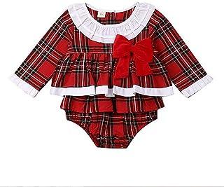 Carolilly, Bebé Recién Nacida Vestido de Navidad Mameluco con Volantes para Niña Ropa Traje de Cuerpo a Cuadros de Manga Larga Mono Bodysuitde Algodón con Bowknot para Niñas Pequeñas