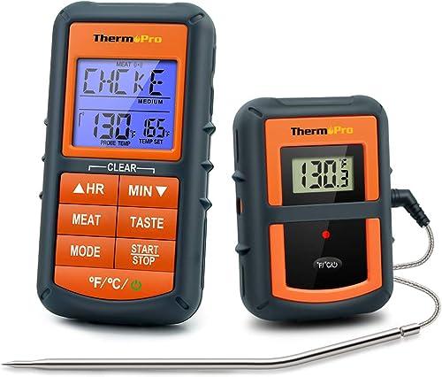 ThermoPro TP07 Termometro da Cucina Wireless Remoto Termometro Barbecue Digitale per BBQ Alimenti Carne Forno con 2 M...